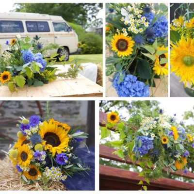 Ta Mill Wedding Venue, Launceston, North Cornwall. Flowers by Flower Scene. July.