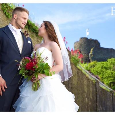 Launceston Town Hall, Launceston Castle, North Cornwall. Suit, David Parish Menswear, dress & Veil, Lowen Bridal, Hair, Hush, MUA Abi Scott, Flowers, Flower Scene.  June.