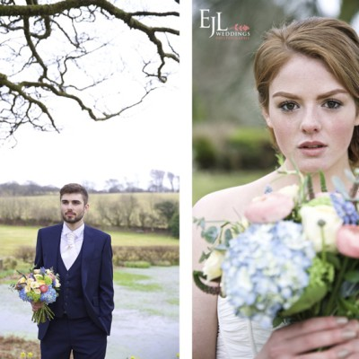 Ta Mill Wedding Venue, Launceston, North Cornwall. Flowers by Flower Scene, Suit by David Parish Menswear, dress Lowen Bridal. March.