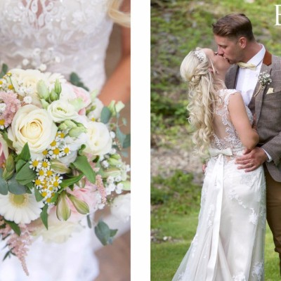 The Green Weddings Cornwall, Liskeard. Flowers by Donna Cornish. Hair by Vicky Endacott. May.