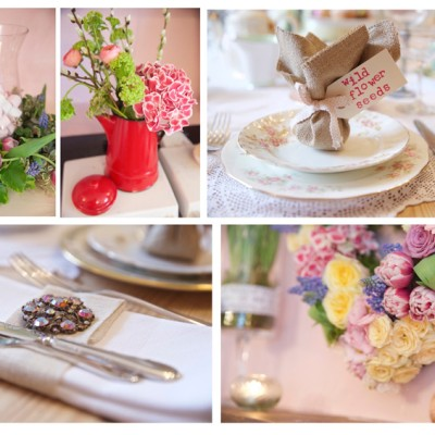 Ta Mill Wedding Venue, Launceston, Cornwall. Pippa's Vintage, Flower Scene.  March.